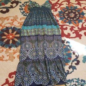 Blue sketch maxi dress